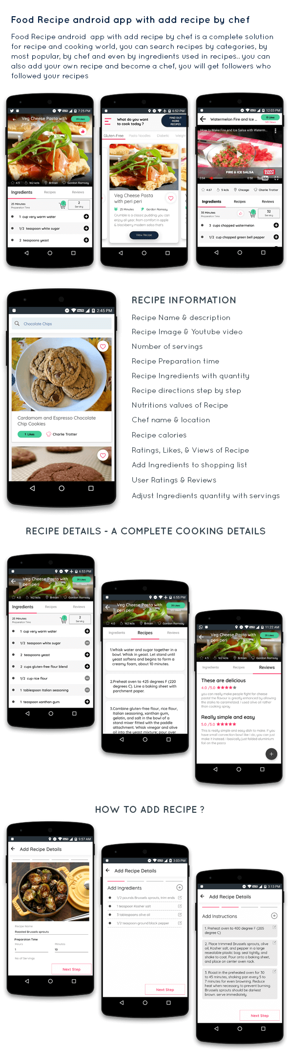 Food Recipe android app with add recipe by chef - 1