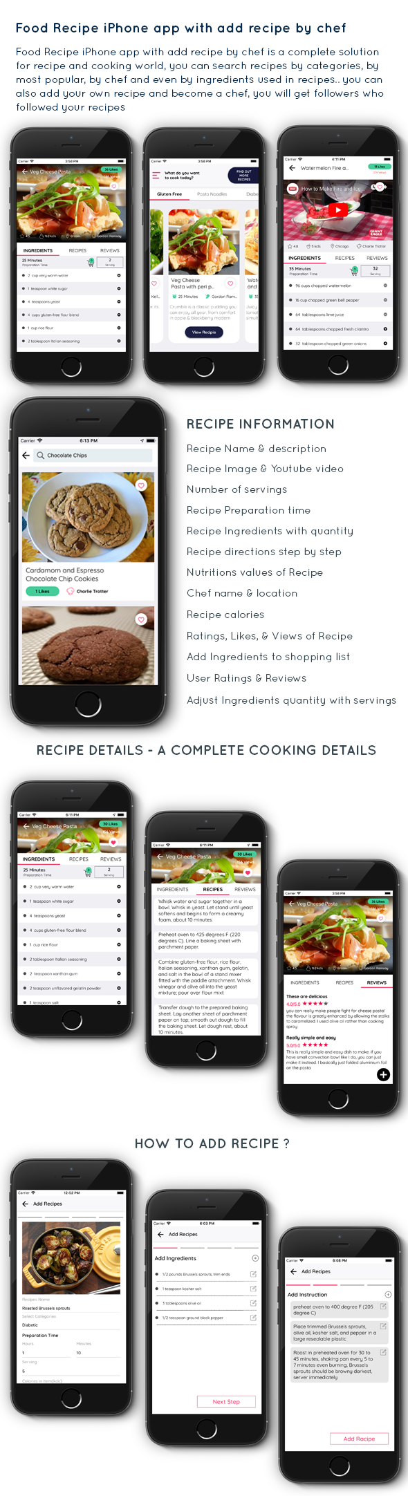 Food Recipe iPhone app with add recipe by chef - SWIFT 4 - 1
